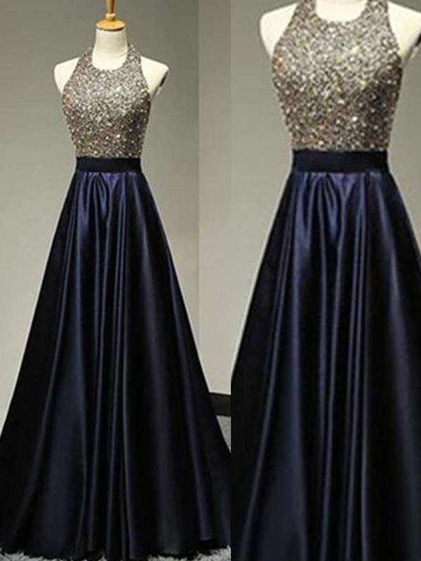 Floor-Length A-Line/Princess Halter Sleeveless Beading Satin Dresses