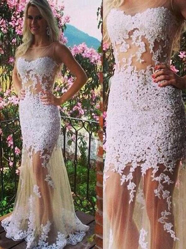 Floor-Length Trumpet/Mermaid Scoop Sleeveless Applique Tulle Dresses