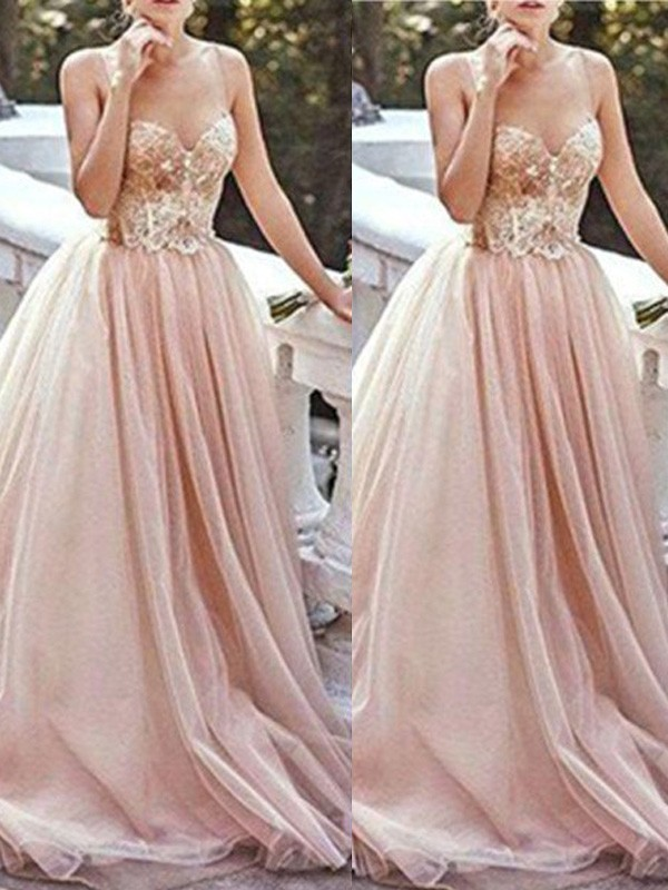 Sweep/Brush Train A-Line/Princess Sweetheart Sleeveless Beading Tulle Dresses