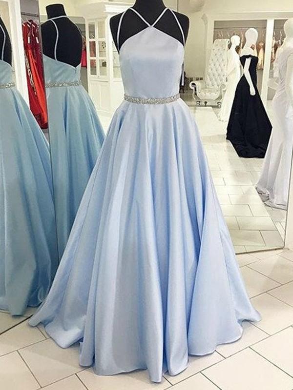Floor-Length A-Line/Princess Halter Sleeveless Other Satin Dresses