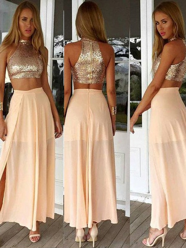Ankle-Length A-Line/Princess High Neck Sleeveless Sequin Chiffon Dresses