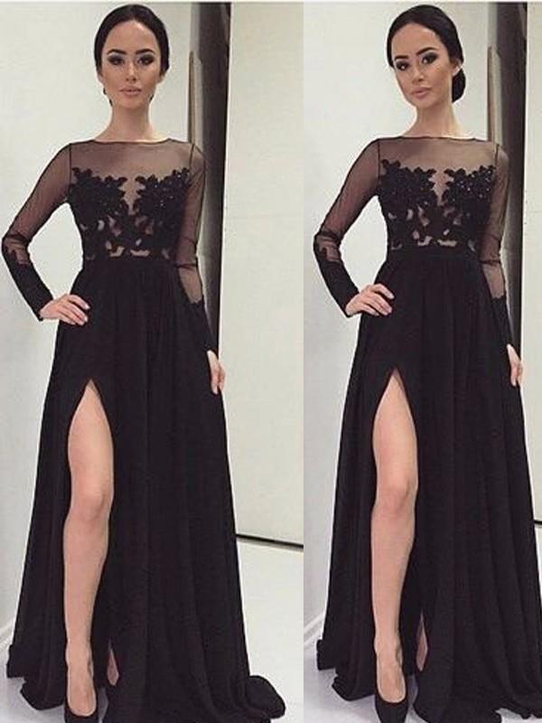 Floor-Length A-Line/Princess Bateau Long Sleeves Lace Chiffon Dresses