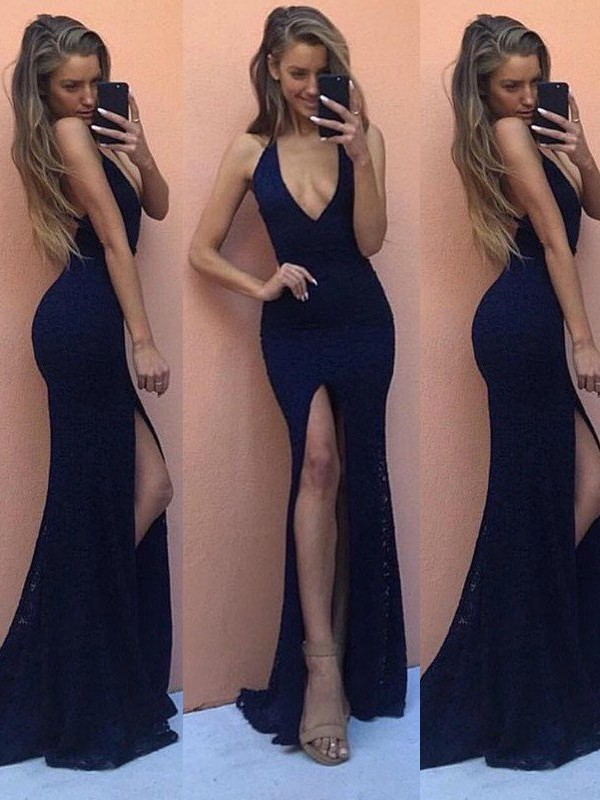Floor-Length Sheath/Column V-neck Sleeveless Lace Dresses