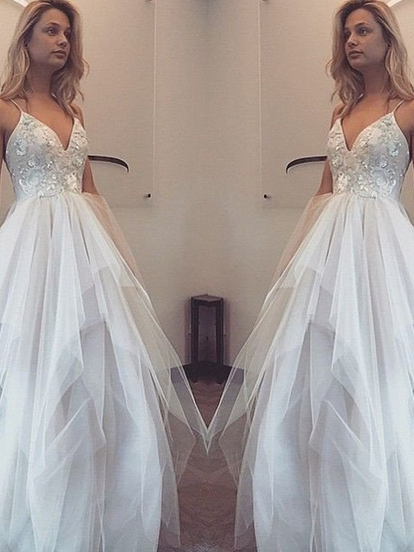 Floor-Length A-Line/Princess Spaghetti Straps Sleeveless Applique Tulle Dresses