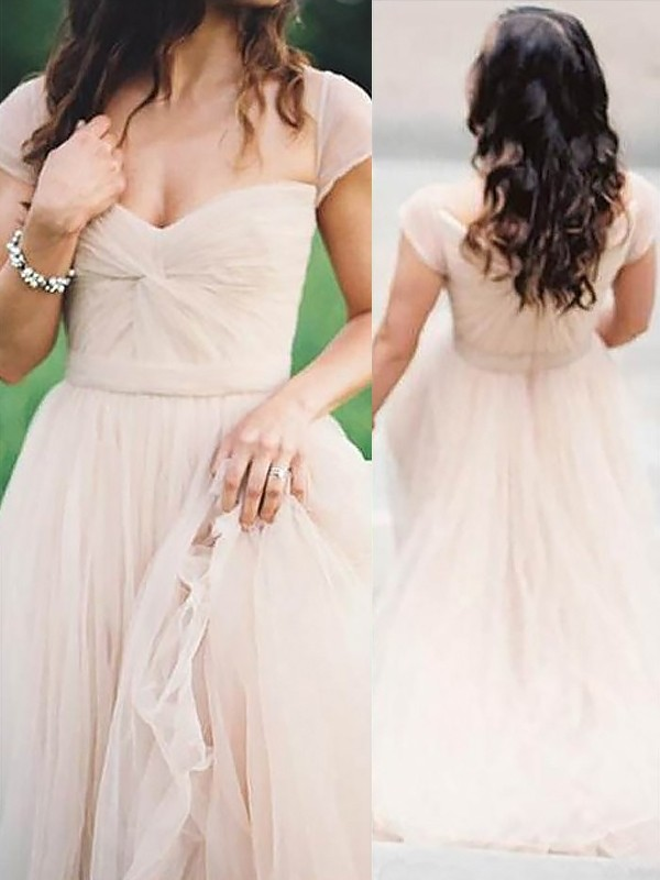 Floor-Length A-Line/Princess Sweetheart Sleeveless Ruched Chiffon Dresses