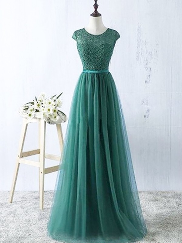Floor-Length A-Line/Princess Scoop Sleeveless Tulle Dresses
