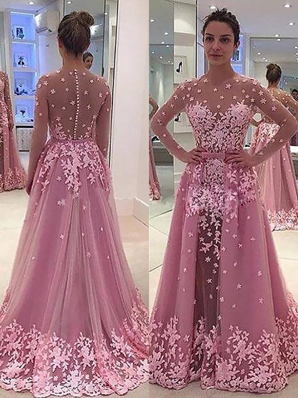 Floor-Length A-Line/Princess Scoop Long Sleeves Applique Tulle Dresses