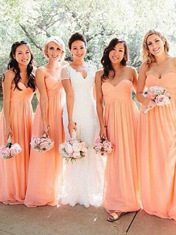 Floor-Length A-Line Princess Sweetheart Sleeveless Ruched Chiffon  Bridesmaid Dresses f05916194e7f