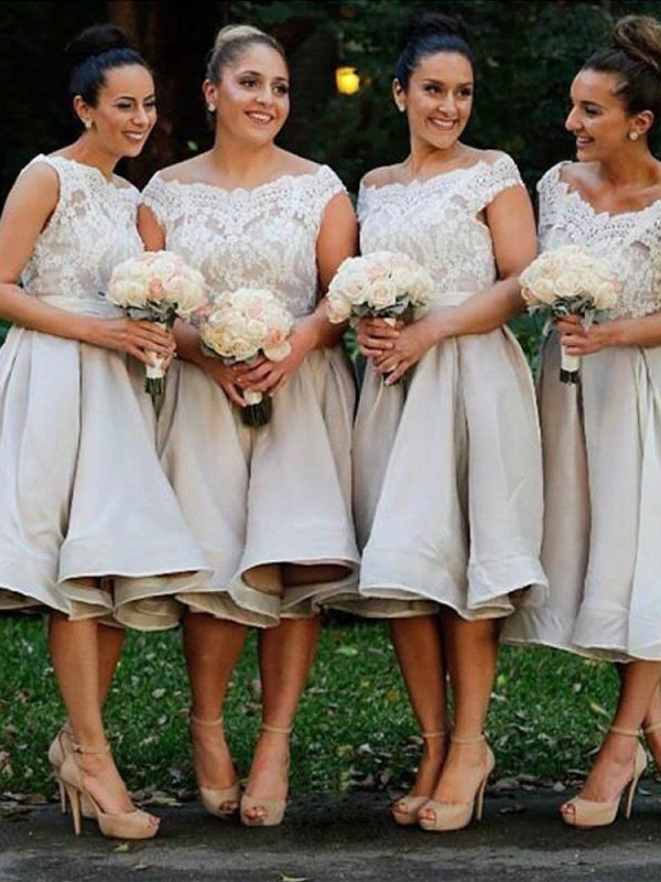 Knee-Length A-Line/Princess Off-the-Shoulder Sleeveless Elastic Woven Satin Bridesmaid Dresses