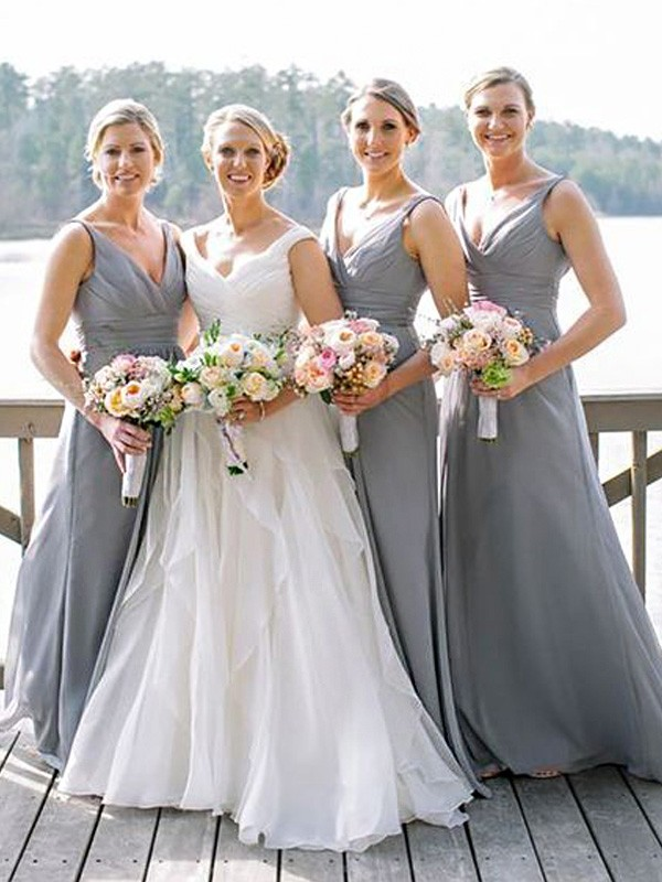 Floor-Length A-Line/Princess V-neck Sleeveless Chiffon Bridesmaid Dresses