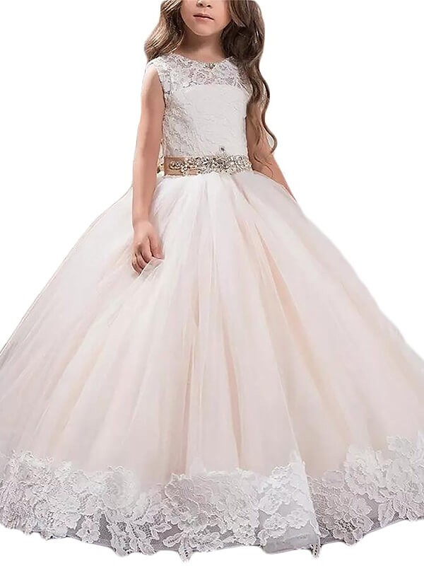 Floor-Length Ball Gown Scoop Sleeveless Lace Tulle Flower Girl Dresses