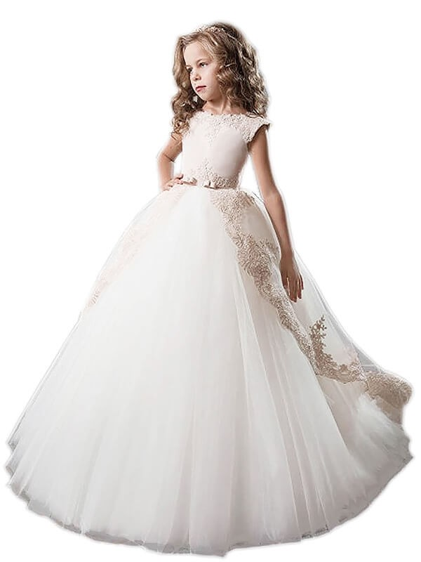 Floor-Length Ball Gown Scoop Sleeveless Applique Tulle Flower Girl Dresses