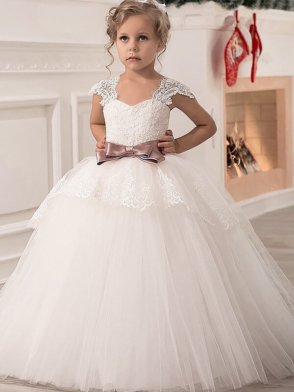 Floor-Length Ball Gown Straps Sleeveless Sash/Ribbon/Belt Tulle Flower Girl Dresses
