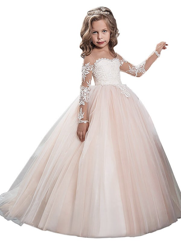 Sweep Train Ball Gown Scoop Long Sleeves Tulle Flower Girl Dresses