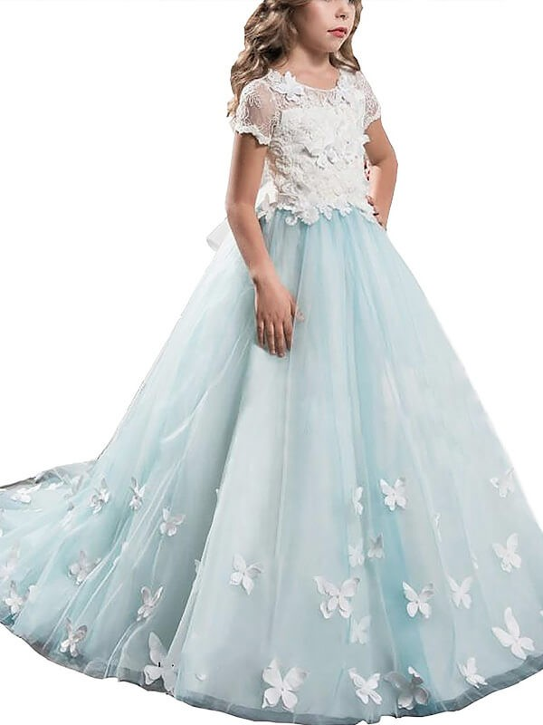 Floor-Length A-Line/Princess Scoop Short Sleeves Lace Tulle Flower Girl Dresses