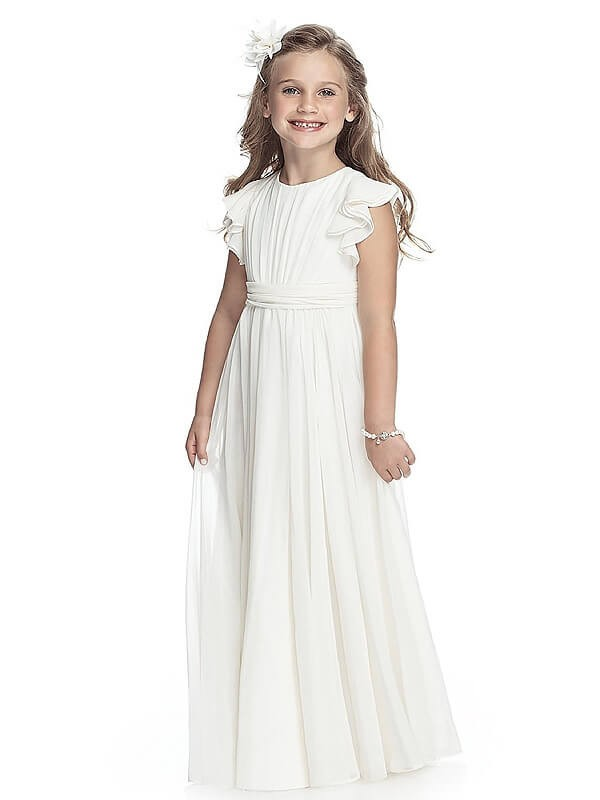 Floor-Length A-Line/Princess Scoop Sleeveless Chiffon Flower Girl Dresses
