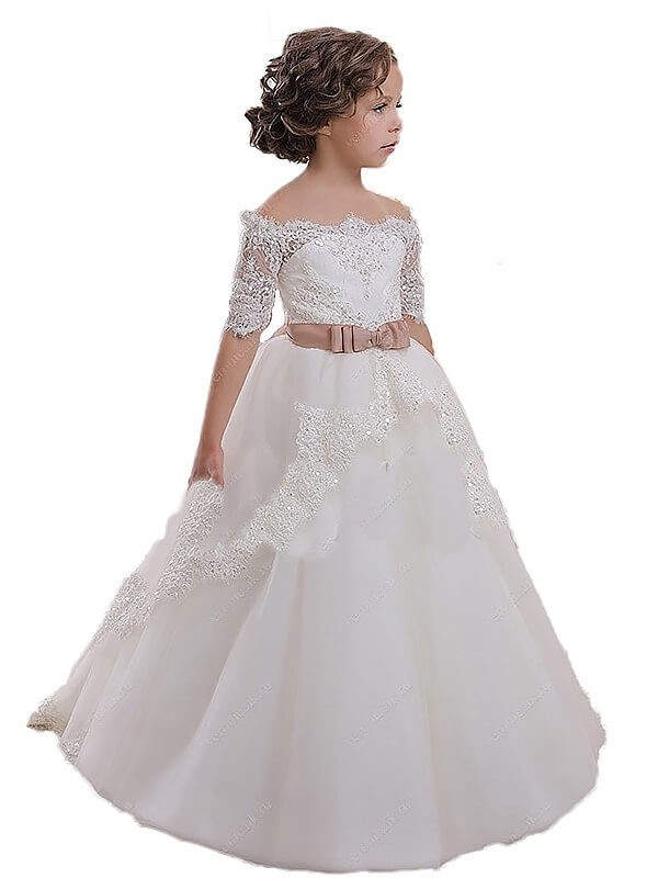 Sweep Train Ball Gown Off-the-Shoulder Short Sleeves Sash/Ribbon/Belt Tulle Flower Girl Dresses