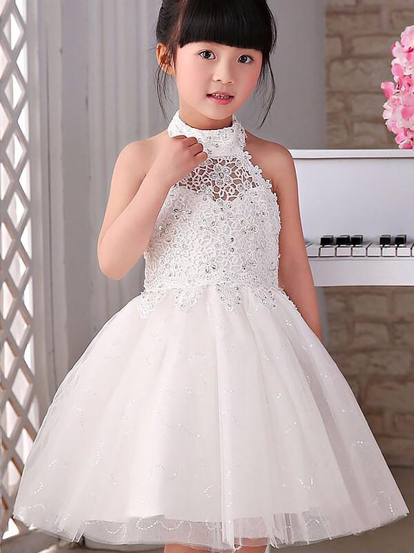 Knee-Length A-Line/Princess Halter Sleeveless Beading Tulle Flower Girl Dresses
