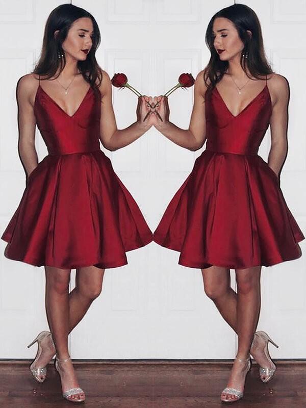 509aed630a3983 Short Mini A-Line Princess V-neck Sleeveless Satin Dresses