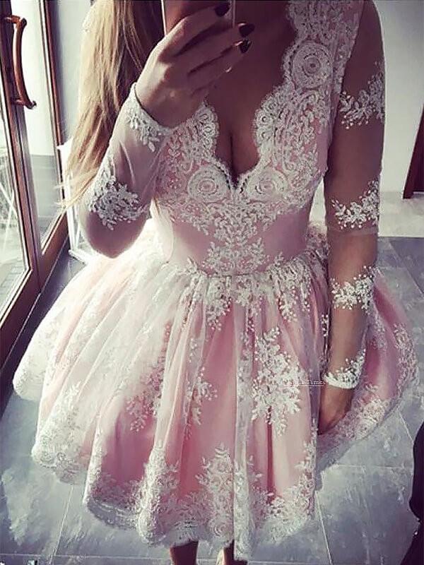 Short/Mini A-Line/Princess V-neck Long Sleeves Dresses