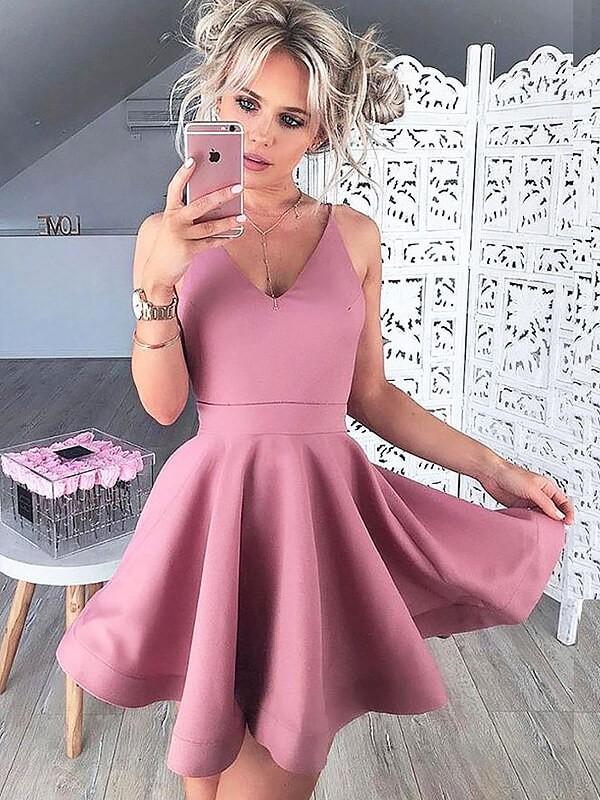 Short/Mini A-Line/Princess V-neck Sleeveless Satin Dresses