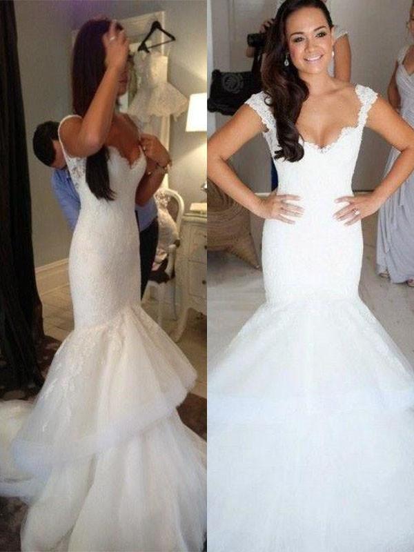 Chapel Train Trumpet/Mermaid Sleeveless Straps Organza Wedding Dresses