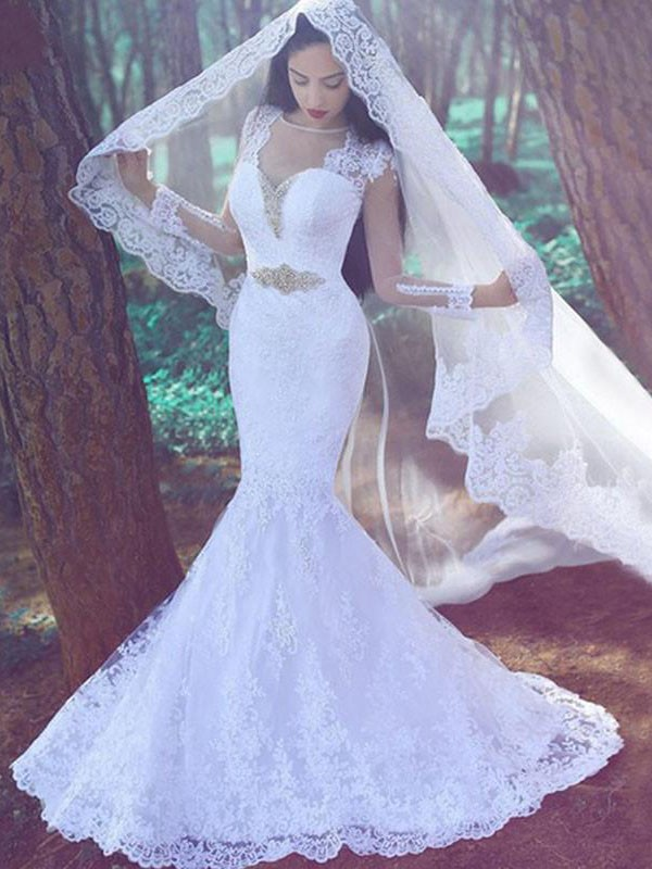 Court Train Trumpet/Mermaid Long Sleeves Sweetheart Lace Wedding Dresses