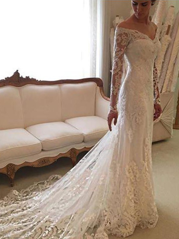 Court Train Sheath/Column Long Sleeves Off-the-Shoulder Lace Wedding Dresses