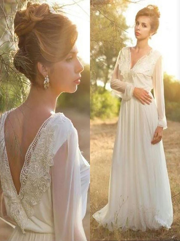 Sweep/Brush Train A-Line/Princess Long Sleeves V-neck Chiffon Wedding Dresses