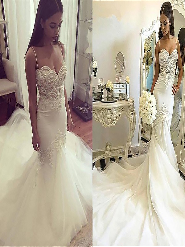 Chapel Train Trumpet/Mermaid Sleeveless Spaghetti Straps Tulle Wedding Dresses