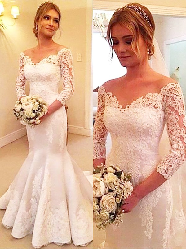 Court Train Trumpet/Mermaid 3/4 Sleeves Off-the-Shoulder Satin Wedding Dresses