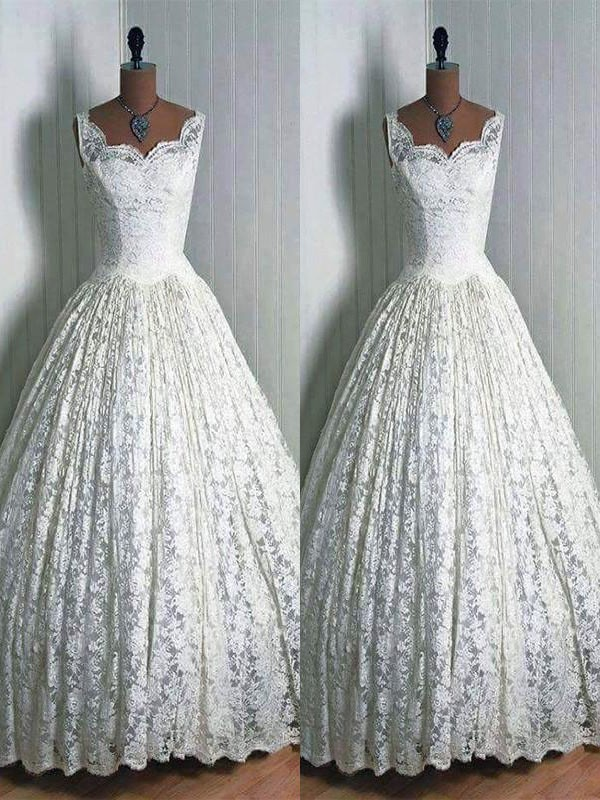 Floor-Length Ball Gown Sleeveless Sweetheart Lace Wedding Dresses