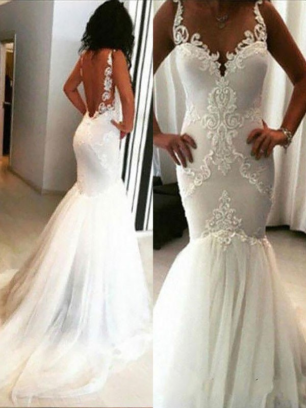 Chapel Train Trumpet/Mermaid Sleeveless Spaghetti Straps Tulle Wedding Dresses