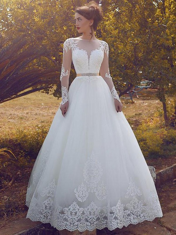 Floor-Length Ball Gown Long Sleeves Bateau Tulle Wedding Dresses