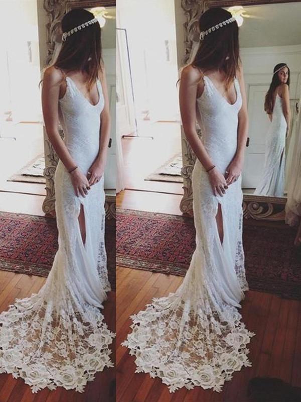 Court Train Sheath/Column Sleeveless Straps Lace Wedding Dresses