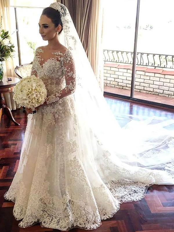 Chapel Train A-Line/Princess Long Sleeves Bateau Tulle Wedding Dresses