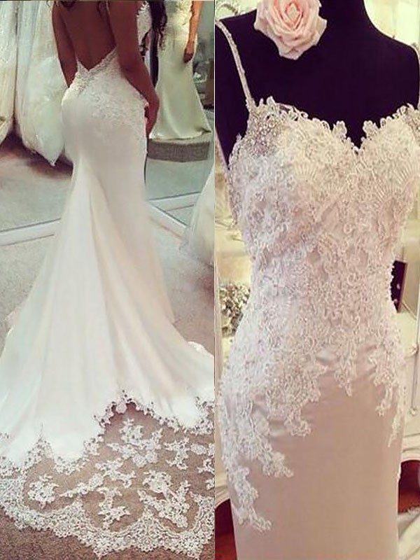 Court Train Trumpet/Mermaid Sleeveless Spaghetti Straps Satin Wedding Dresses