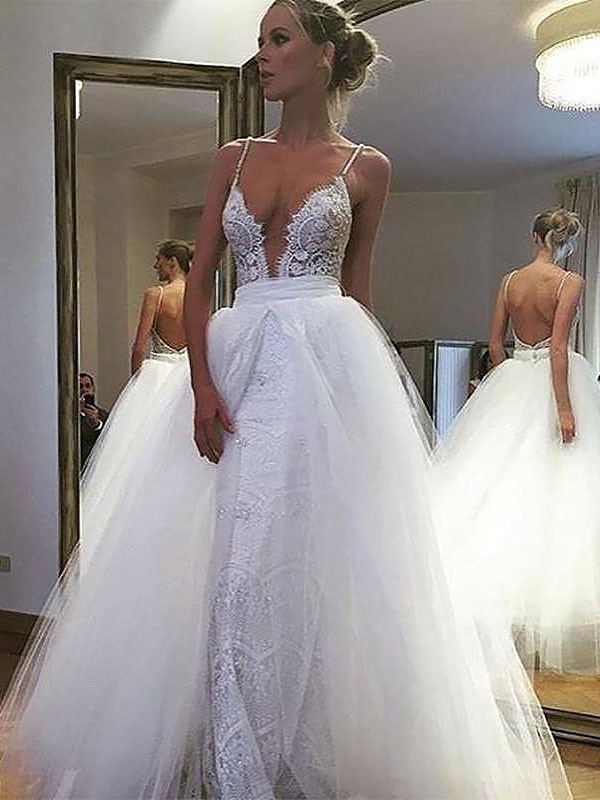 Floor-Length A-Line/Princess Sleeveless Spaghetti Straps Tulle Wedding Dresses