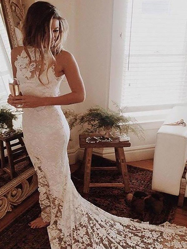 Chapel Train Trumpet/Mermaid Sleeveless Halter Lace Wedding Dresses