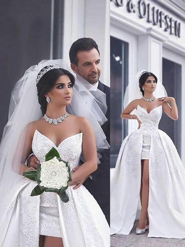 Chapel Train Ball Gown Sleeveless Sweetheart Satin Wedding Dresses
