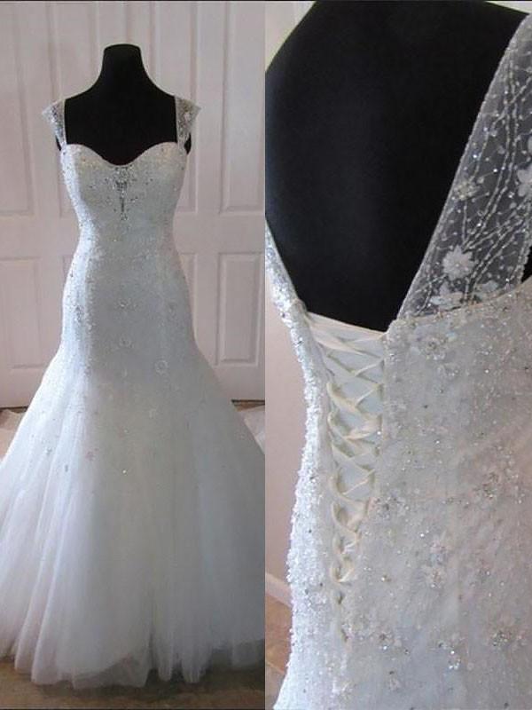 Court Train Trumpet/Mermaid Sleeveless Straps Tulle Wedding Dresses