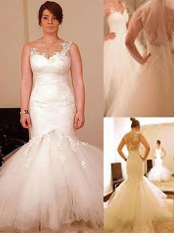 Floor-Length Trumpet/Mermaid Sleeveless Straps Tulle Wedding Dresses