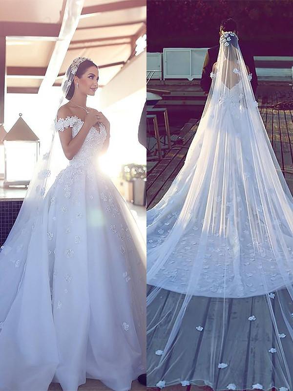 Chapel Train Ball Gown Sleeveless V-neck Tulle Wedding Dresses