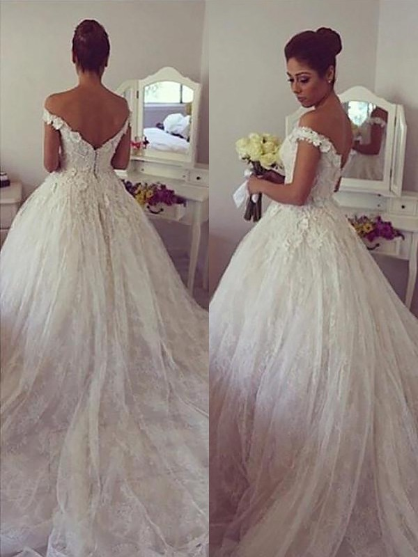 Court Train Ball Gown Sleeveless Off-the-Shoulder Lace Wedding Dresses