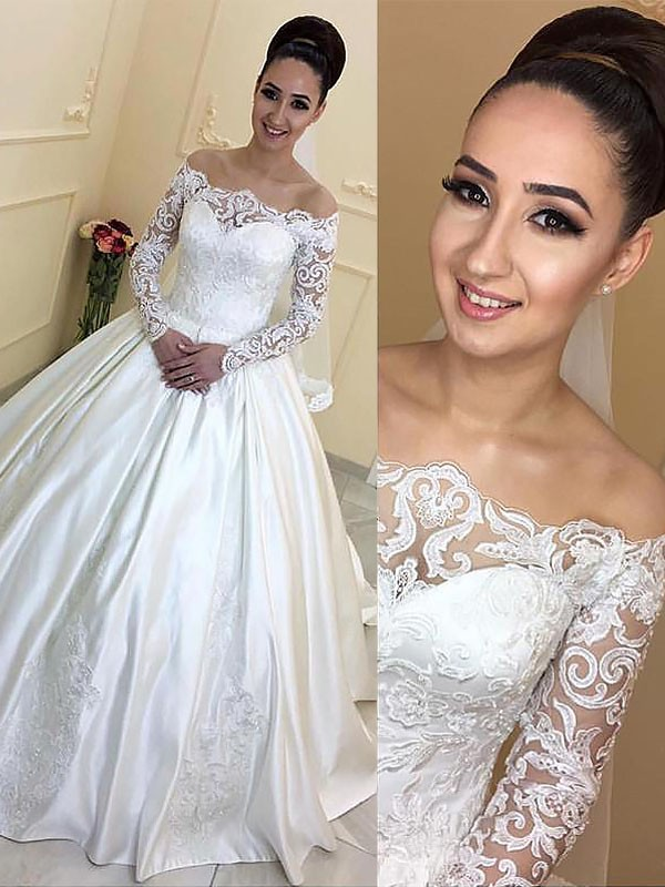 Court Train Ball Gown Long Sleeves Off-the-Shoulder Satin Wedding Dresses