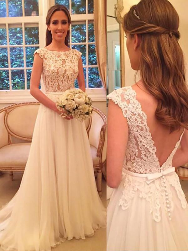 Sweep/Brush Train A-Line/Princess Sleeveless Scoop Chiffon Wedding Dresses