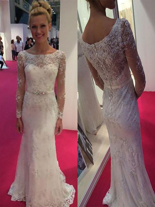 Sweep/Brush Train Sheath/Column Long Sleeves Scoop Chiffon Wedding Dresses