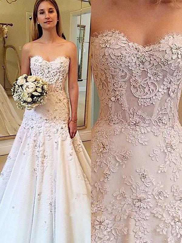 Court Train A-Line/Princess Sleeveless Sweetheart Lace Wedding Dresses