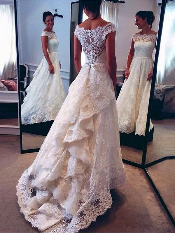 Sweep/Brush Train A-Line/Princess Sleeveless Scoop Lace Wedding Dresses