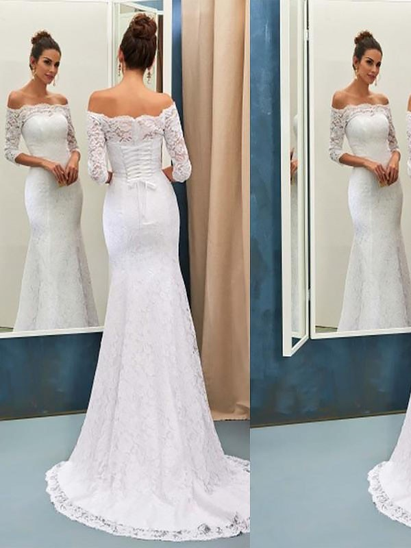 Sweep/Brush Train Trumpet/Mermaid Long Sleeves Off-the-Shoulder Lace Wedding Dresses